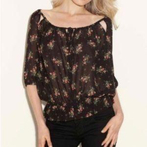 Guess black floral blouse